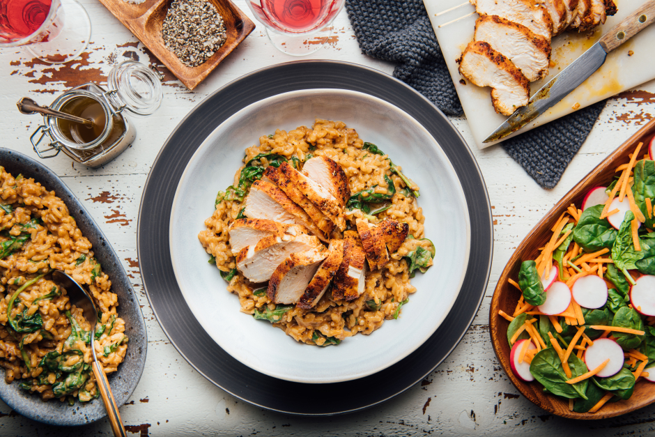 Chicken with Black Garlic & Caramelized Onion Risotto