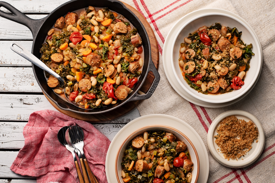 Quick Sausage 'Cassoulet' with Kale & Cherry Tomatoes
