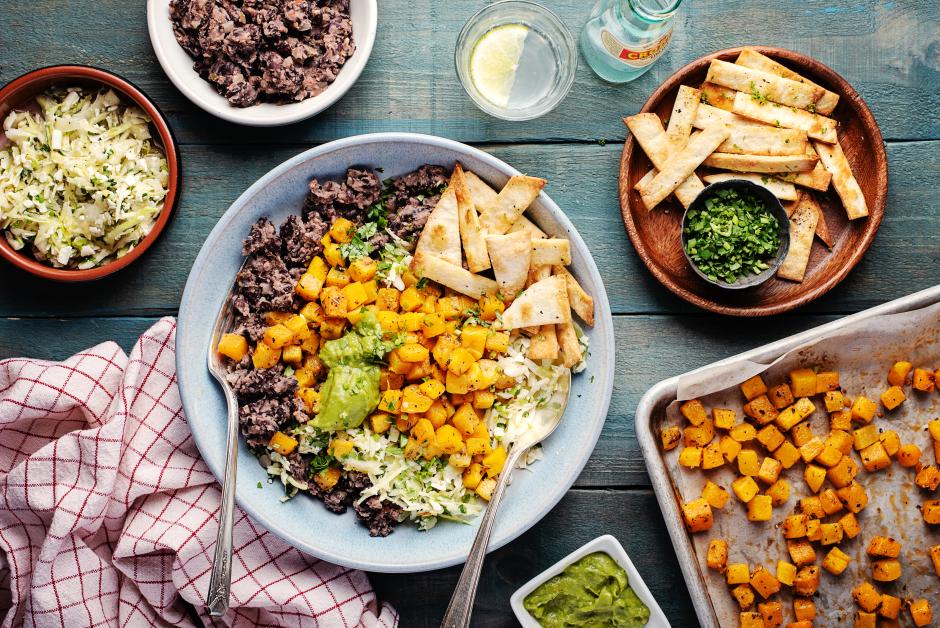 Roasted Squash Burrito Bowls