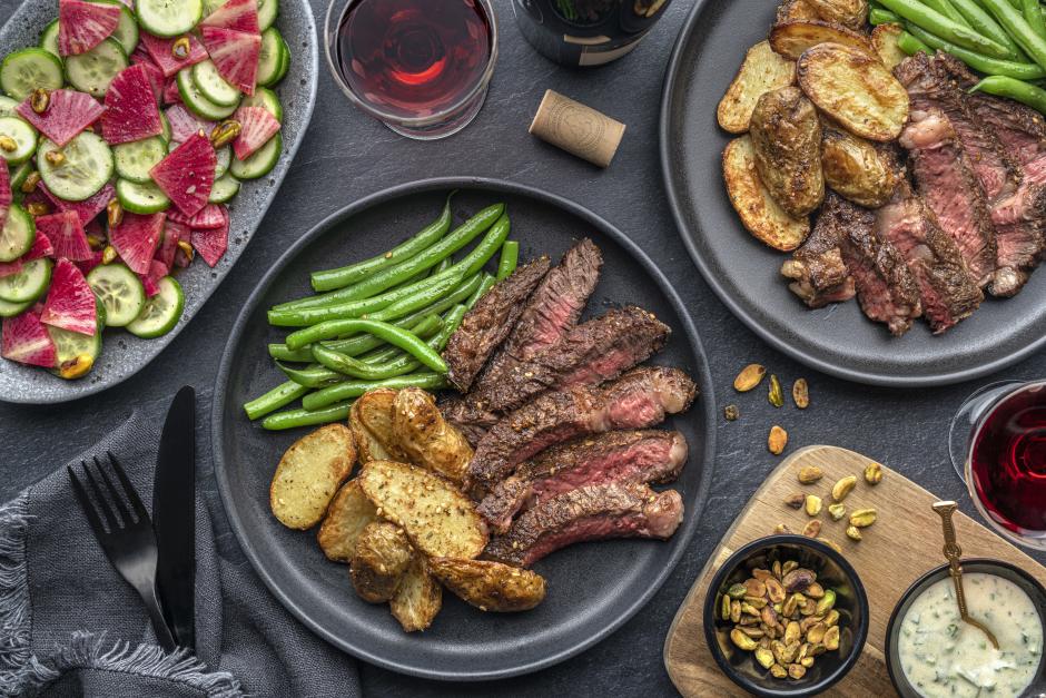 AAA Bone-in Rib Steak, Roasted Potatoes & Zhoug Yogurt