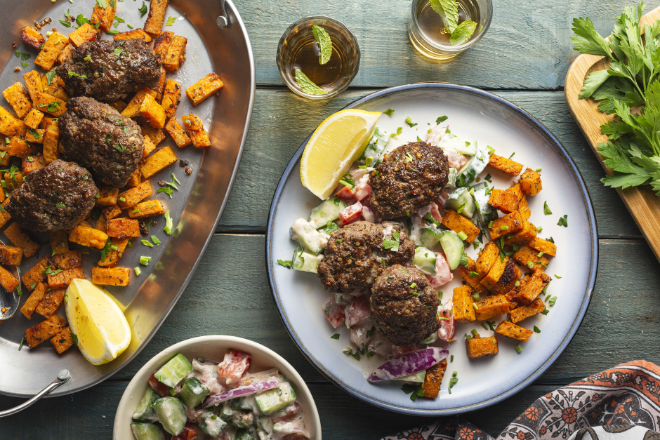 Beef Kofta & Roasted Sweet Potatoes