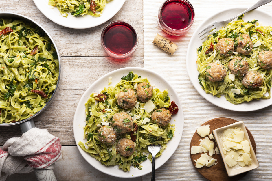 Cheese-Stuffed Turkey Meatballs over Fresh Spinach Linguine