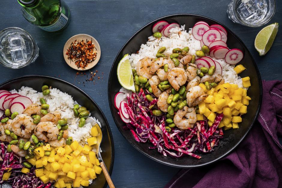 Hawaiian-Style Shrimp & Mango Poke Bowls