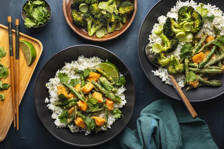 Thai-Style Coconut Green Curry over Jasmine Rice