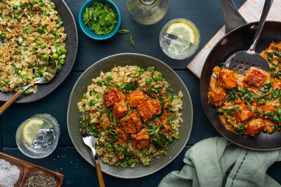 Butter Halloumi Curry with Leafy Greens