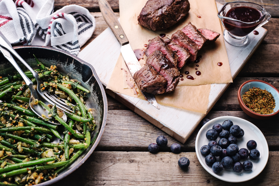 Seared Steaks with Blueberry-Sherry Sauce