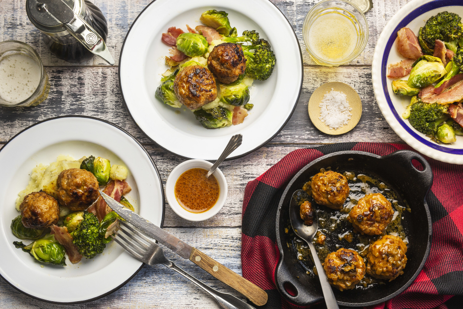 Pork Meatballs with Maple-Bacon Roasted Vegetables