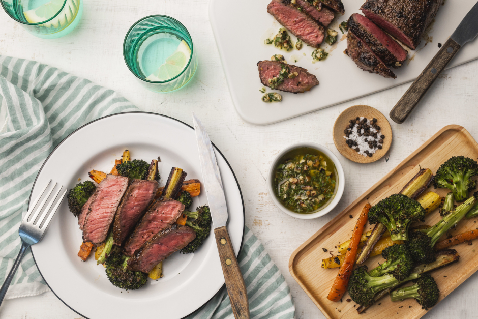 Steaks with Rustic Walnut-Parsley Pesto