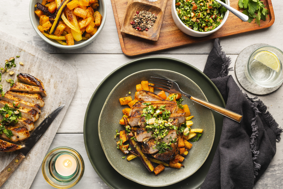 Seared Pork Chops with Crunchy Almond Gremolata