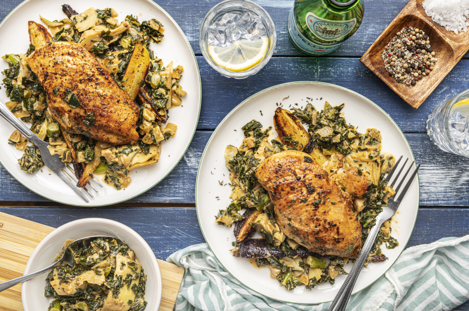 Chicken Fricassée with Artichokes & Kale
