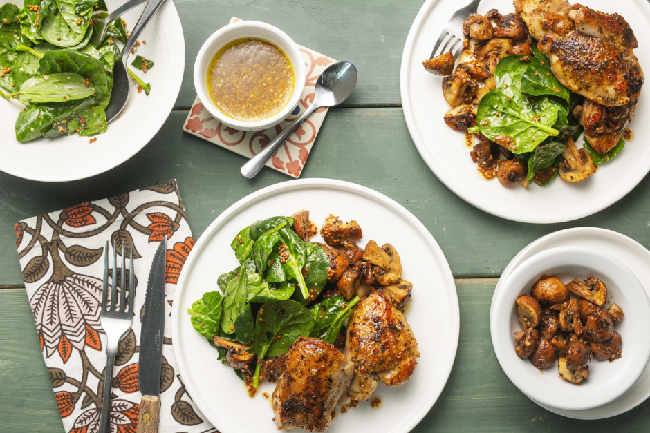Spiced Chicken with Roasted Garlic-Butter Mushrooms