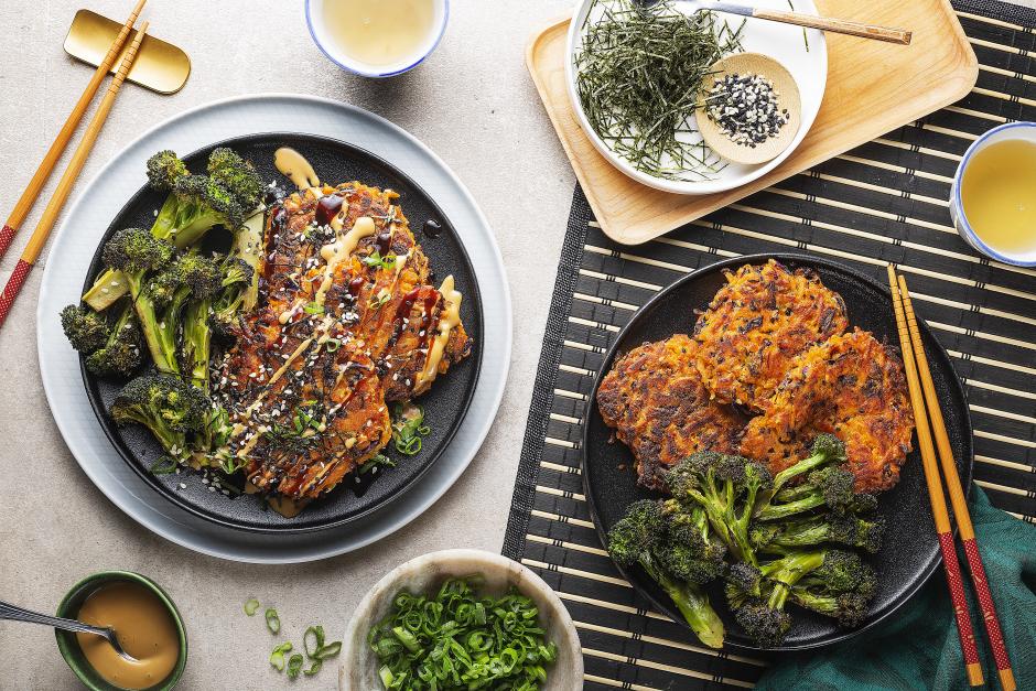Okonomiyakis aux patates douces et chou