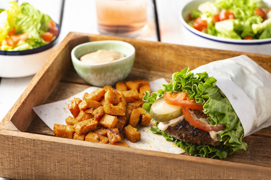 Hearty Beef Lettuce Burgers with Caramelized Onions