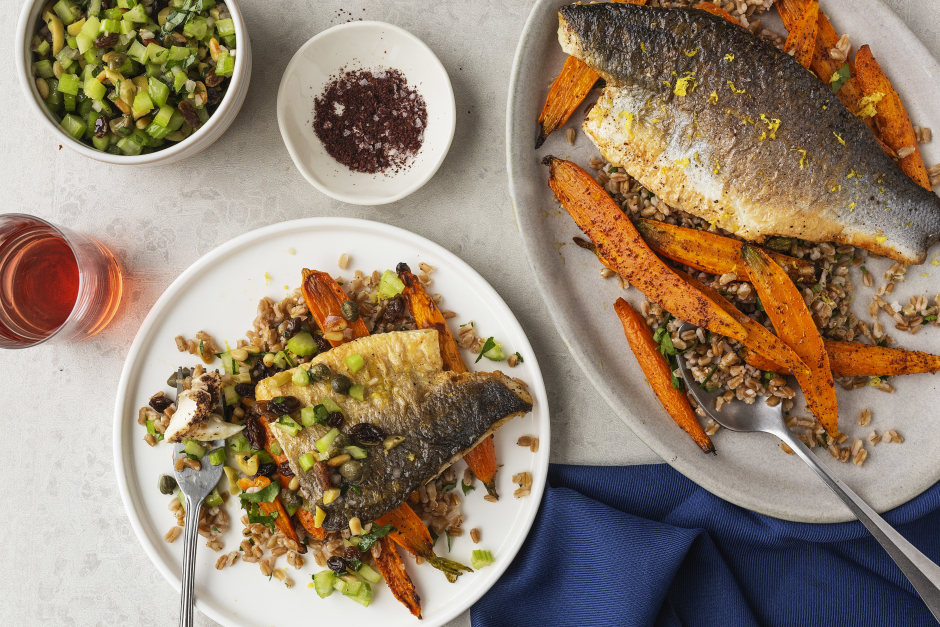 Branzino with Caper, Pine Nut & Herb Salsa