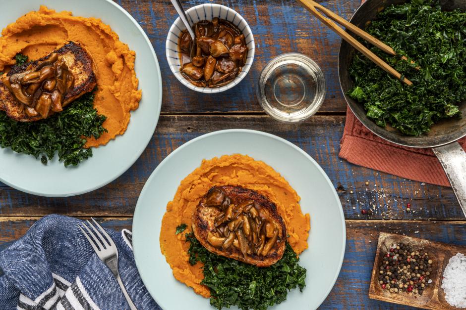 Seared Pork Chops & Black Oyster Mushroom Pan Jus