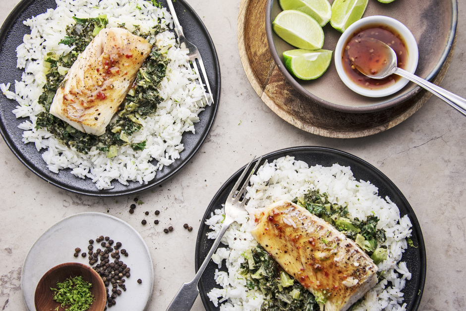 Cod over Yellow Coconut Curry Kale