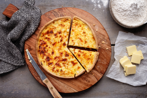 Butter Crusted Cheddar Quiche