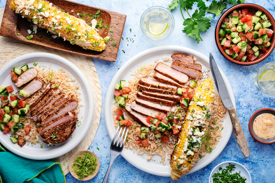 Zesty Spiced Pork Chops with Mexican-Style Elote