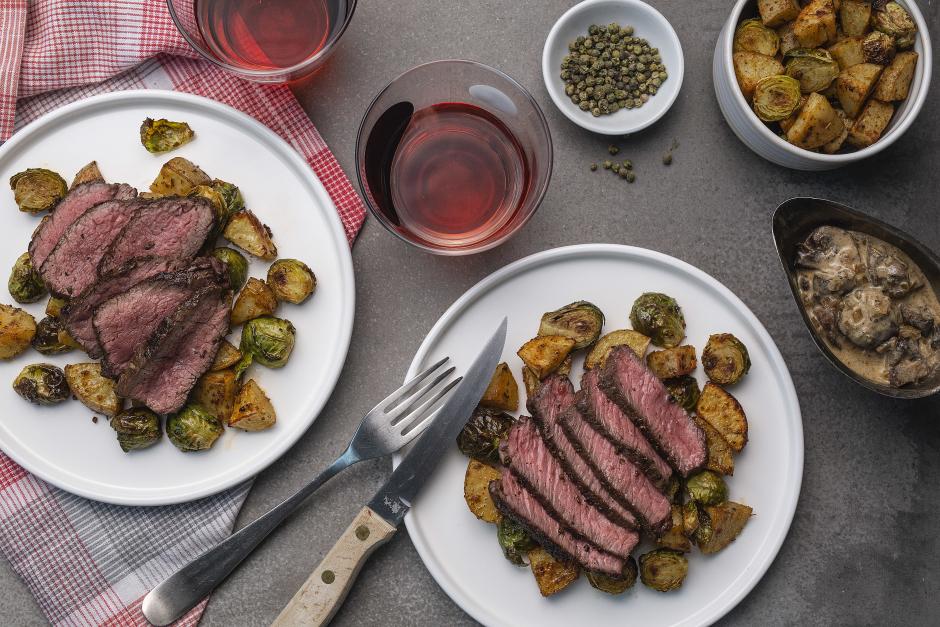 Steak with Mushroom-Green Peppercorn Sauce