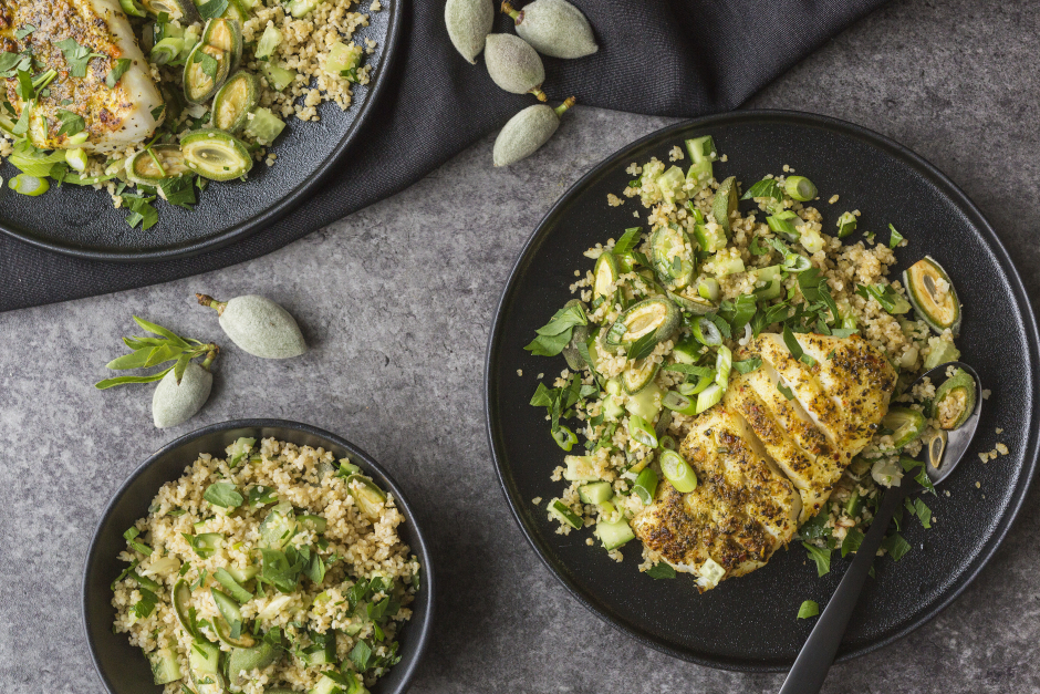 Seared Cod with Green Almonds