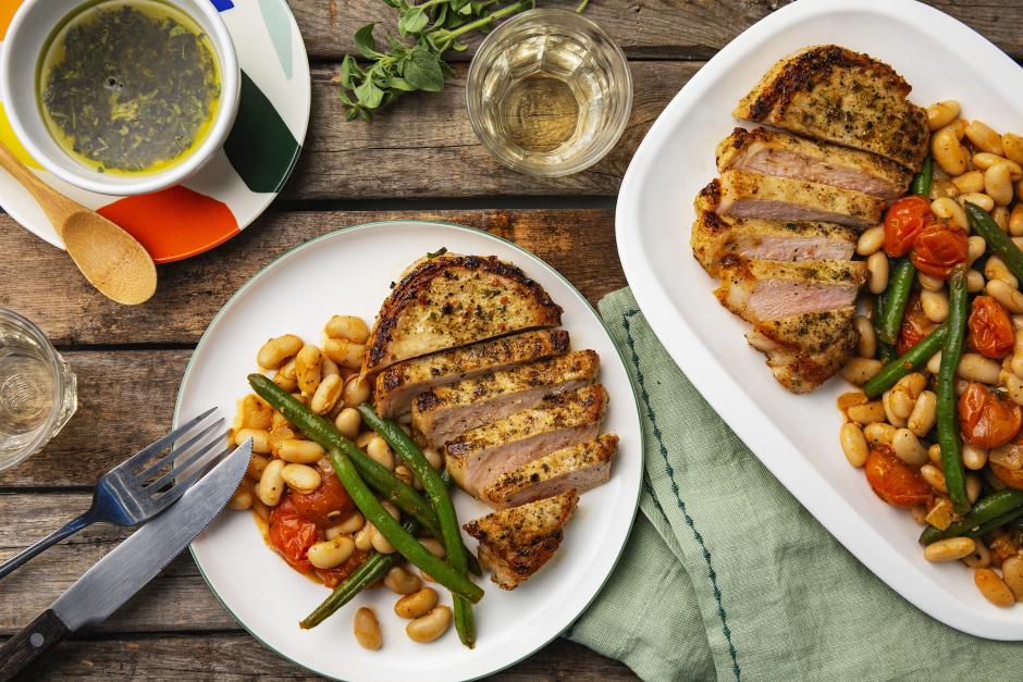 Skillet Pork Chops with Salmoriglio