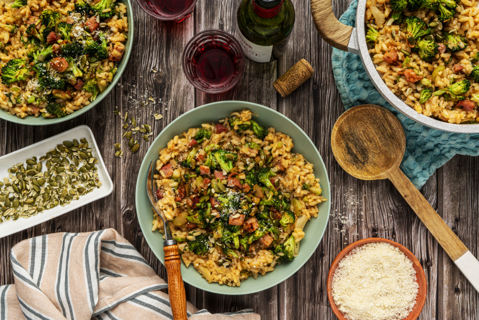Pan-Roasted Broccoli & Pancetta Risotto