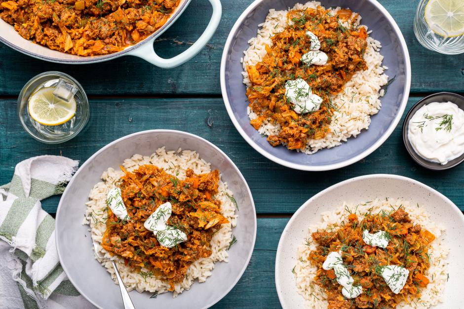 Ground Beef, Rice & Savoy Cabbage Roll Bowls