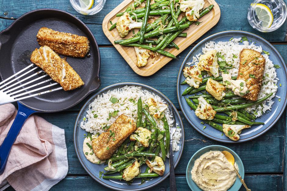 Dukkah-Spiced Cod over Garlic-Herb Rice