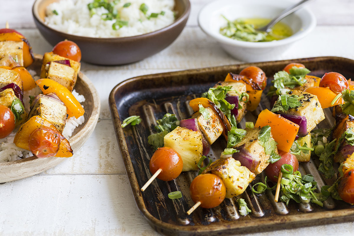 Tofu, Pineapple & Vegetable Kebabs