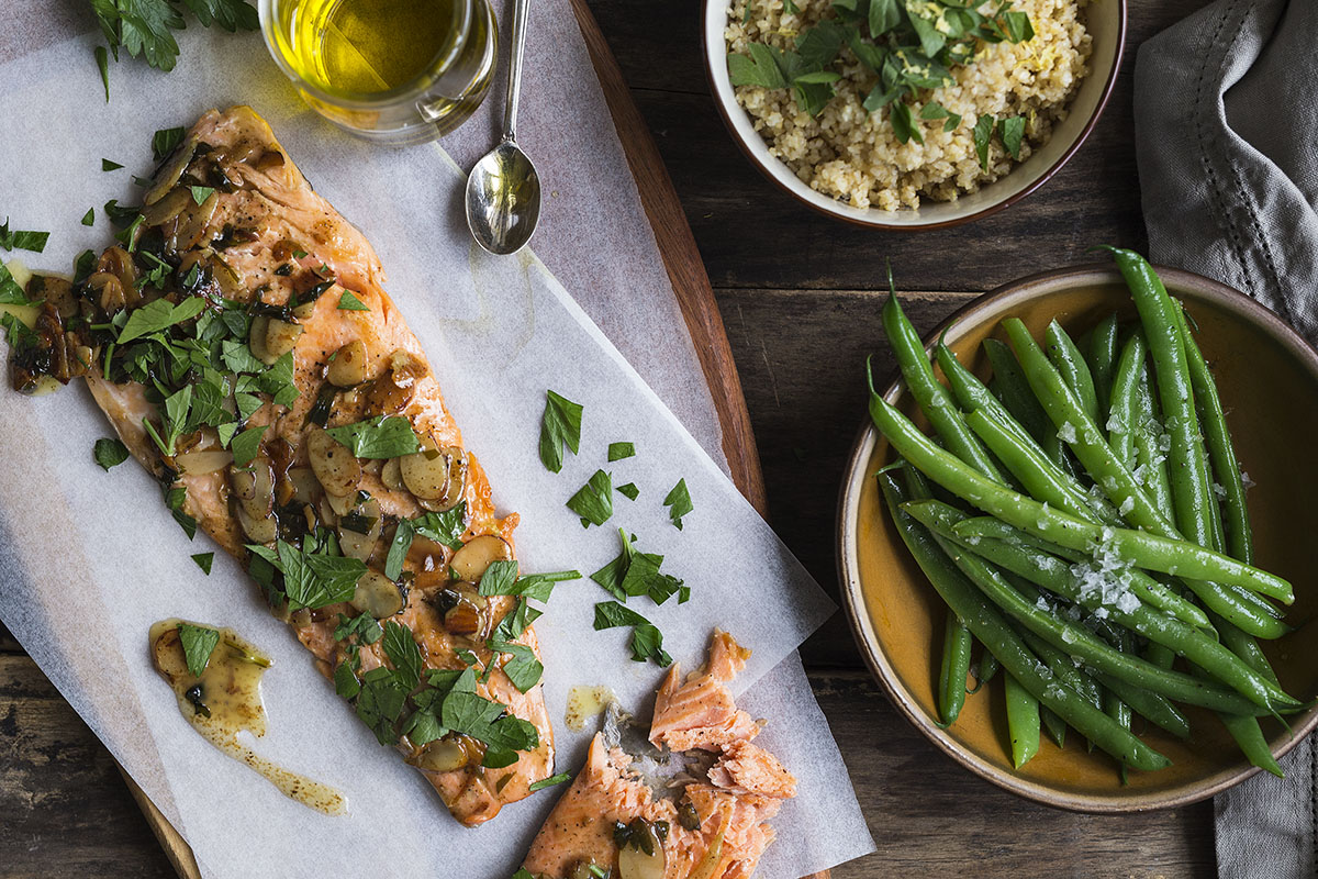 Trout Amandine with Green Bean Salad