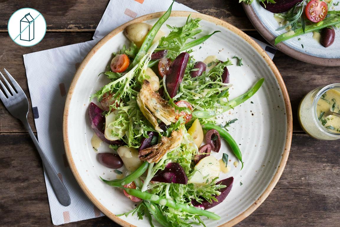 Vegetarian Niçoise Salad with Pan Fried Marinated Artichokes