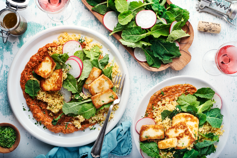 Seared Halloumi over Spiced Bulgur
