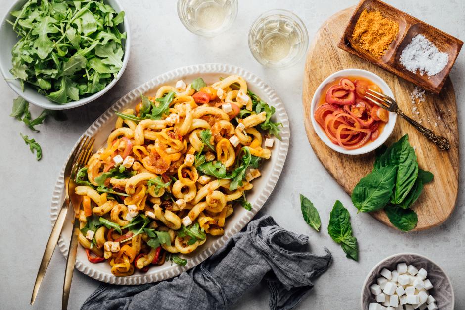 Salade tiède de gemellis au pesto de tomates séchées