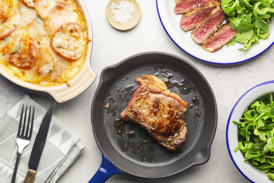 New York Strip Steak with Tomato-Potato Gratin