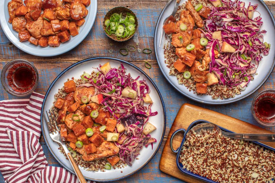Sticky Pork Tenderloin & Sweet Potatoes in BBQ Glaze