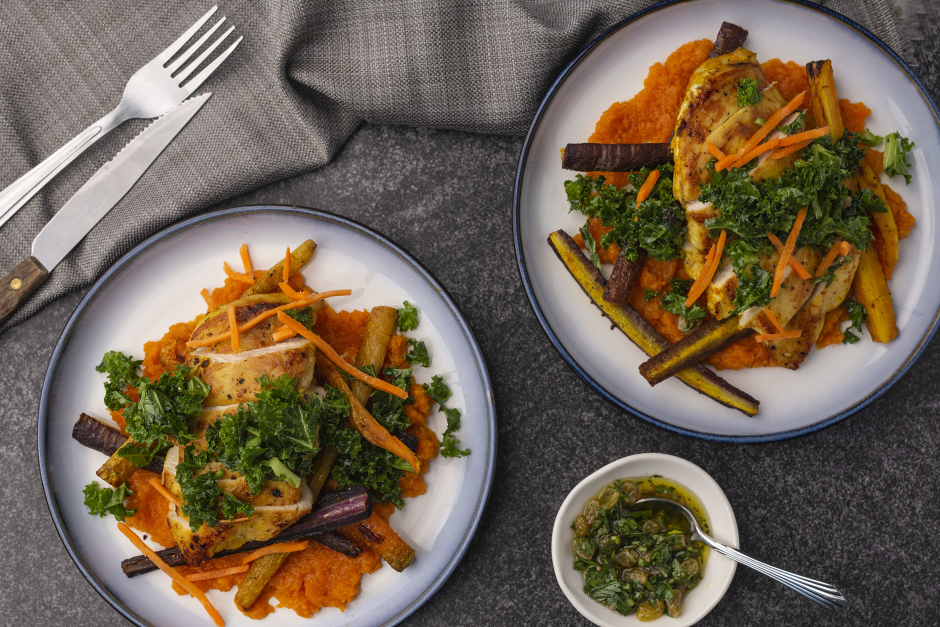 Curried Chicken Breasts with Carrots 3 Ways