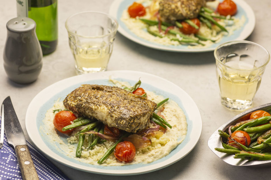 Za'atar Cod with Warm Couscous Salad