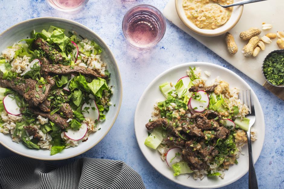 Thai-Style Beef Salad over Crispy Rice
