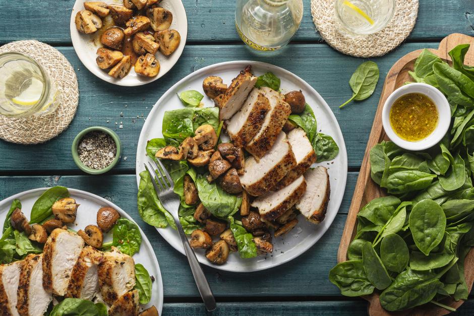 Warm Chicken Salad with Garlic-Butter Mushrooms