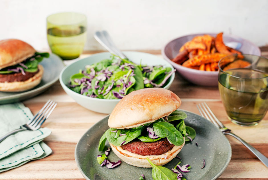 California Plant Power Burgers with Spinach Salad