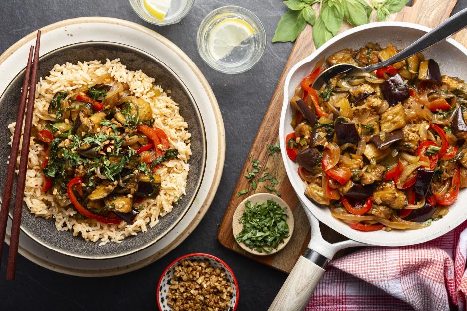 Eggplant & Sweet Basil Stir-Fry