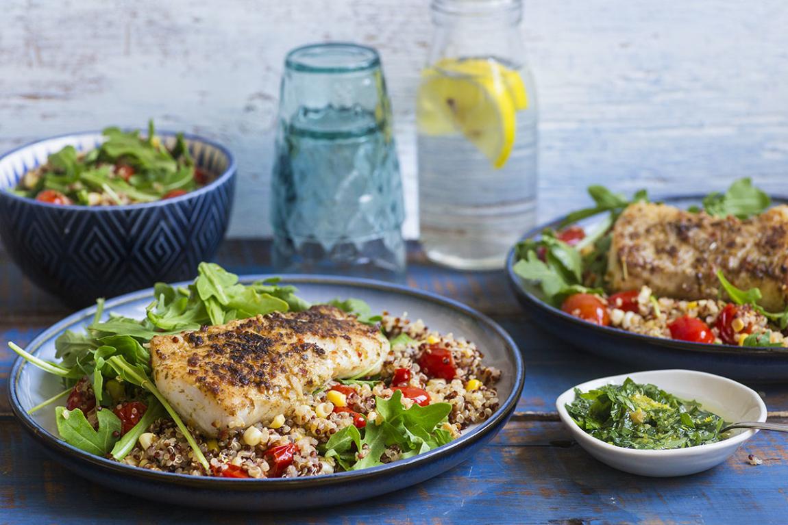Haddock with Warm Quinoa Salad