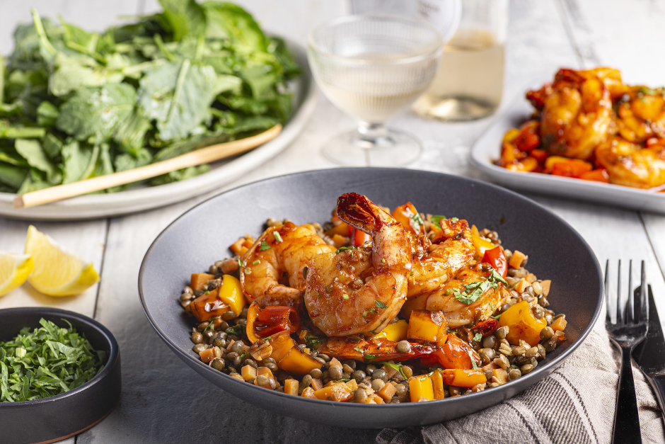 New Orleans-Style Tiger Shrimp with Puy Lentils