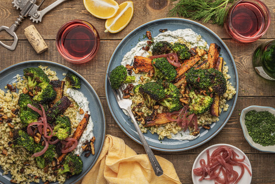 Charred Broccoli & Bulgur with Spiced Labneh