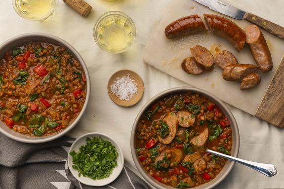 One-Pot Spiced Sausage & Lentil Soup