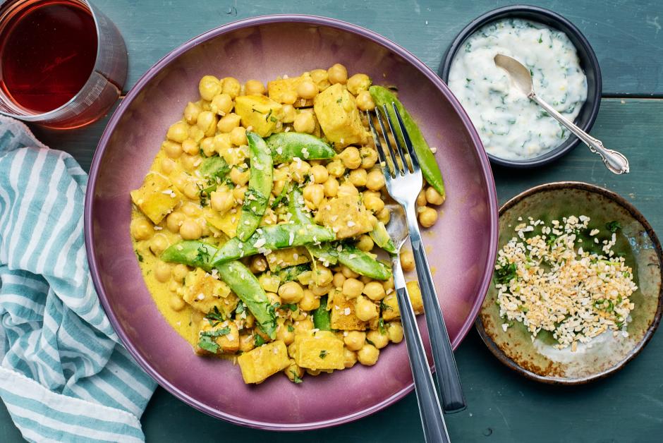 Golden Tofu with Coconut Chickpeas & Lemon Yogurt