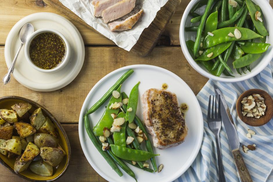 Honey-Mustard Pork Chops with Green Bean & Sugar Snap Pea Amandine