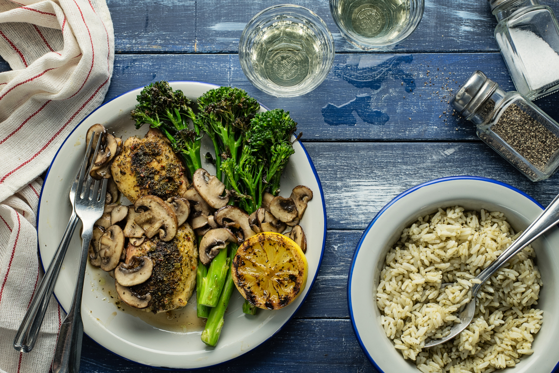 Lemon-Garlic Chicken Thighs with Mushrooms