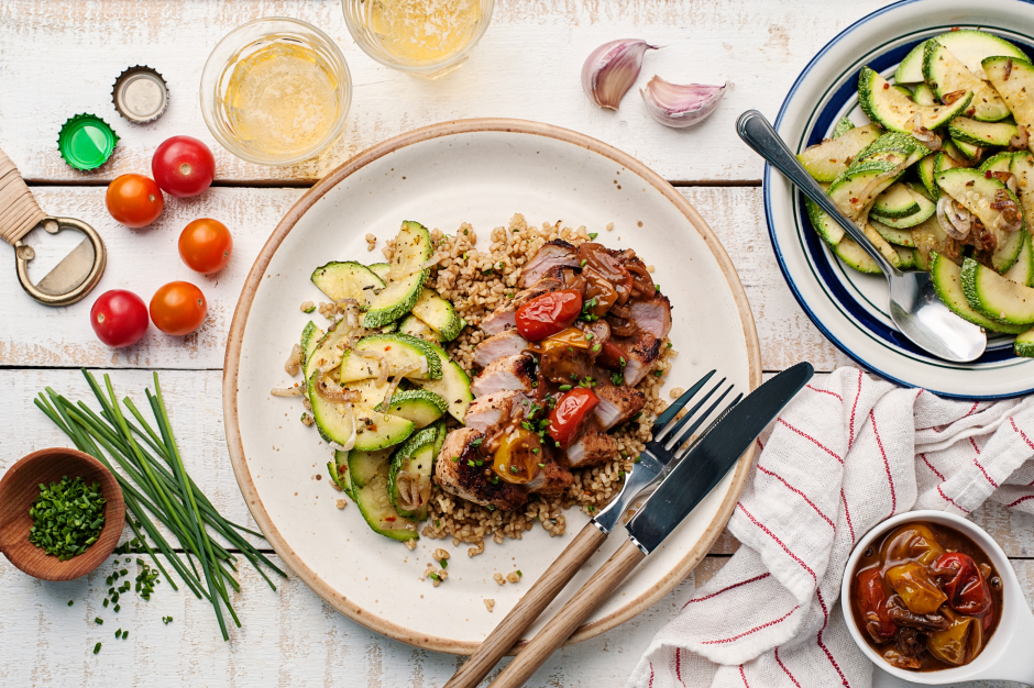 Pan-Roasted Pork Chops with Cherry Tomatoes