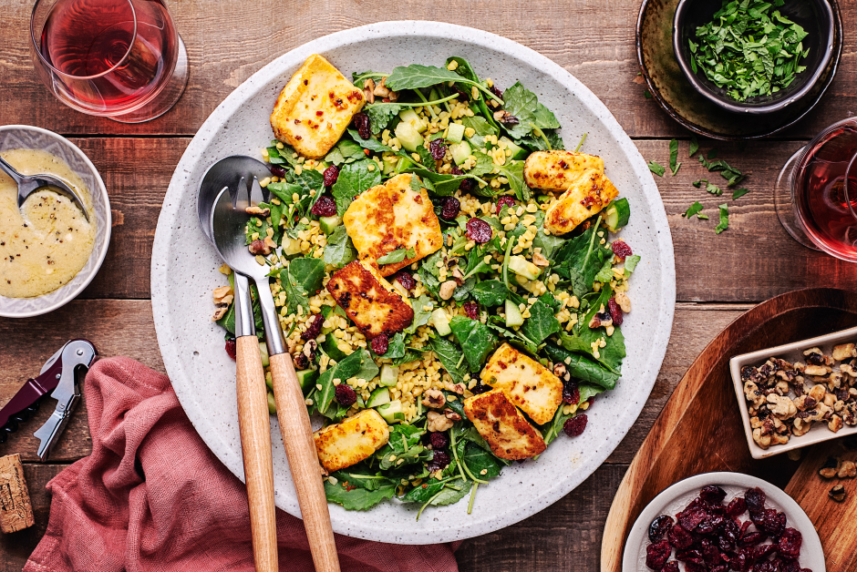 Seared Halloumi-Topped Tabbouleh